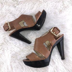 Michael Kors Brown Leather Platform Sandal Heels